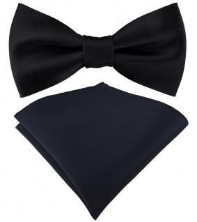 Set Jungenfliege in schwarz Uni - Halsumfang verstellbar+ Einstecktuch + Box