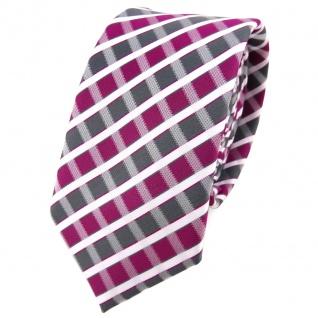Schmale TigerTie Krawatte magenta grau silber weiss gestreift - Schlips Binder