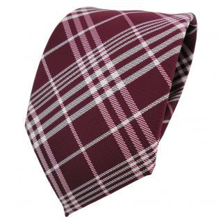 TigerTie Designer Krawatte bordeaux rot weinrot silber weiß kariert - Binder Tie