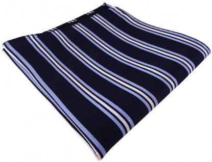 TigerTie Designer Seideneinstecktuch in blau marine dunkelblau silber gestreift