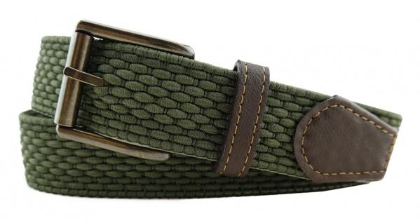 TigerTie - Stretchgürtel in grün oliv einfarbig - Bundweite 100 cm