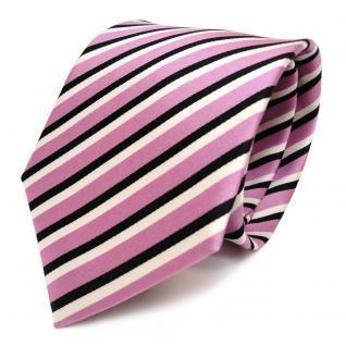 Schicke Designer Krawatte - Schlips Binder rosa schwarz weiss gestreift - Tie