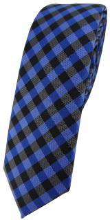 schmale TigerTie Krawatte Schlips royal marine blau anthrazit kariert (4, 5 cm)