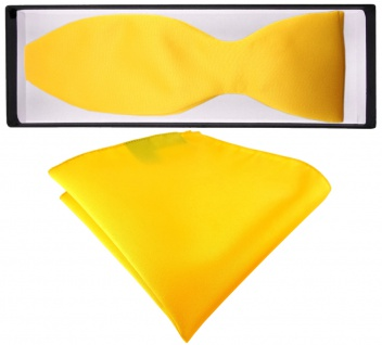 TigerTie Satin Selbstbinder Fliege + Einstecktuch gelb sonnengelb Uni einfarbig