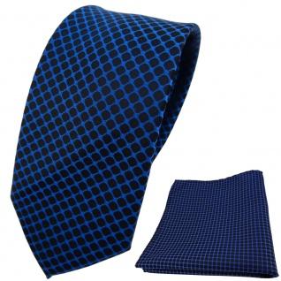 schmale Designer TigerTie Krawatte + Einstecktuch dunkelblau schwarz gemustert