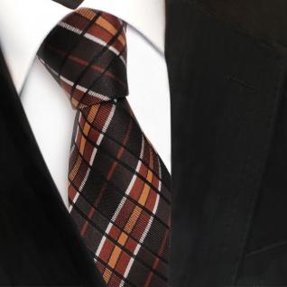TigerTie Seidenkrawatte braun kupfer schwarz silber kariert -Krawatte 100% Seide