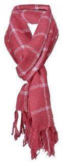 Schal in rose rosa silberrau kariert mit Fransen - Schalgröße 170 x 45 cm