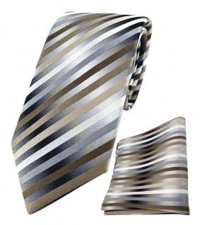 TigerTie Designer Seidenkrawatte + Einstecktuch braun anthrazit silber gestreift