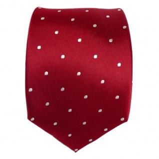 TigerTie Designer Seidenkrawatte rot karminrot weiss gepunktet - Krawatte Seide - Vorschau 2