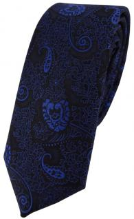 schmale TigerTie Krawatte in blau dunkelblau schwarz gemustert Paisley - Binder