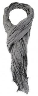 TigerTie - gecrashter Schal in dunkelgrau einfarbig - Gr. 180 x 50 cm