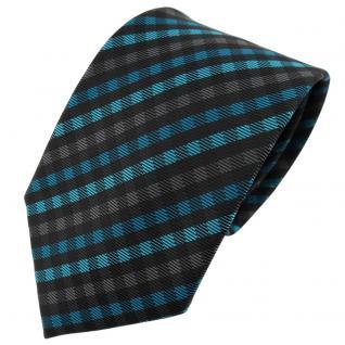 TigerTie Designer Krawatte türkis anthrazit schwarz kariert - Schlips Tie