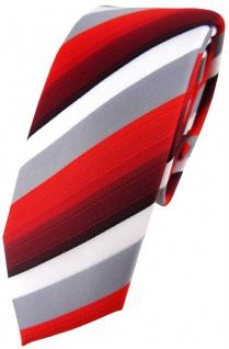 schmale TigerTie Designer Krawatte in rot weinrot grau weiss gestreift