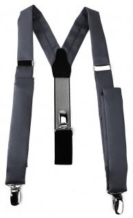schmaler TigerTie Unisex Hosenträger mit 3 extra starken Clips - anthrazit Uni