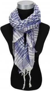 Halstuch blau braun grau kariert mit Fransen an zwei Seiten Gr 100 x 100 cm