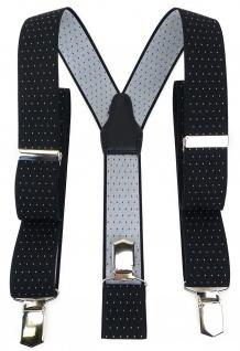 TigerTie Unisex Hosenträger mit 3 extra starken Clips - schwarz silber gepunktet
