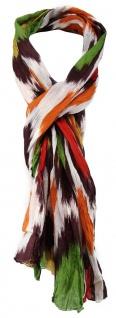 TigerTie - gecrashter Schal in orange dunkelbraun rot grün gelb grau gemustert