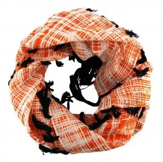 Halstuch in orange weissgrau schwarz gemustert mit Fransen - Größe 100 x 100 cm