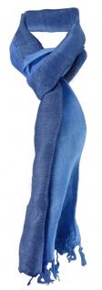 Schal in blau dunkelblau gestreift mit kleinen Fransen - Gr. 180 x 30 cm