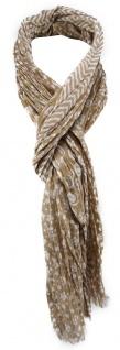 TigerTie Schal in beige weiß gemustert - Gr. 180 x 50 cm 100% Baumwolle