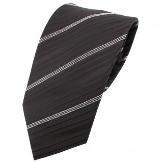 TigerTie Krawatte schwarz silber gestreift mit Glitzer - Tie Binder