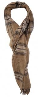 TigerTie Schal in braun beige silber schwarz gemustert mit Fransen