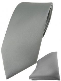 TigerTie Designer Krawatte + TigerTie Einstecktuch in grau einfarbig uni