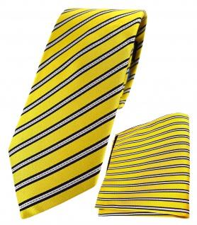 TigerTie - hochwertig konfektionierte Seidenkrawatte + Seideneinstecktuch in gelb gelbgold schwarz silber gestreift