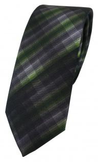 schmale TigerTie Designer Seidenkrawatte grün anthrazit grau schwarz gemustert