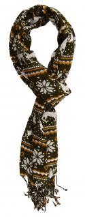 TigerTie Schal olive braun grau Motiv Rentiere Schneeflocken - Gr. 180 x 50 cm