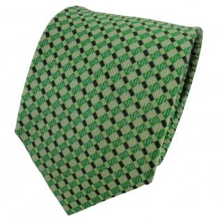TigerTie Designer Seidenkrawatte grün hellgrün grasgrün kariert