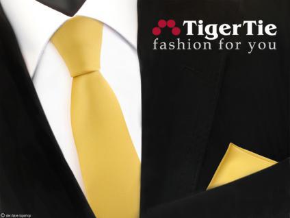 schmale TigerTie Satin Krawatte + Einstecktuch gelb goldgelb Uni - Schlips