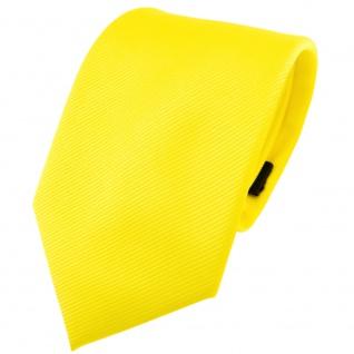 TigerTie Designer Krawatte in gelb leuchtgelb neongelb einfarbig Uni Rips