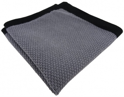 TigerTie Designer Strick Einstecktuch in grau schwarz Uni - 100% Baumwolle