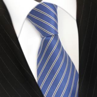 Elegante Designer Krawatte - Binder Schlips blau schwarz weiss gestreift - Tie - Vorschau 3