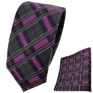 schmale TigerTie Krawatte + Einstecktuch magenta lila anthrazit silber gestreift