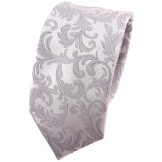 schmale Hochzeit Seidenkrawatte silber Rankenmuster Uni - Krawatte 100% Seide