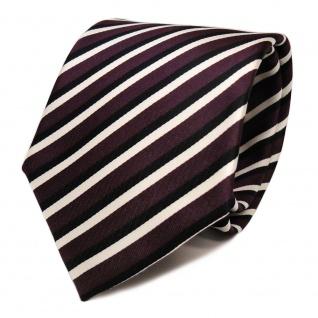 Designer Krawatte - Schlips Binder violett purpur schwarz weiß gestreift - Tie
