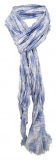 Schal gecrinkelt in blau hellblau creme mit kleinen Fransen - Gr. 170 x 40 cm