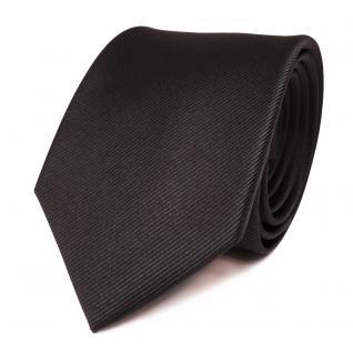 TigerTie Seidenkrawatte anthrazit dunkelgrau grau Uni Rips - Krawatte 100% Seide