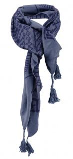 Halstuch anthrazit dunkelblau gemustert mit Tusseln an den Ecken - Schriftzug