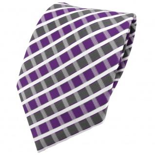 TigerTie Designer Krawatte in violett grau silber weiss gestreift - Tie Binder