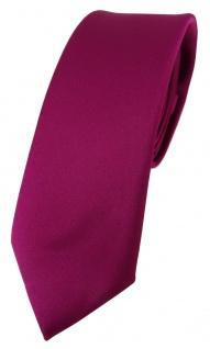 schmale TigerTie Designer Krawatte in magenta einfarbig Uni - Tie Schlips