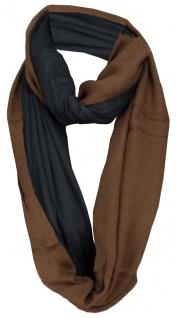 TigerTie Loop Schal braun schwarz einfarbig Uni - Gr. 140 x 50 cm - Rundschal