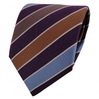 TigerTie Krawatte lila dunkellila blau braun gestreift - Binder Schlips Tie