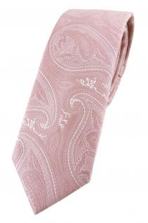 TigerTie - schmale Designer Krawatte in rosa altrosa silber Paisley gemustert