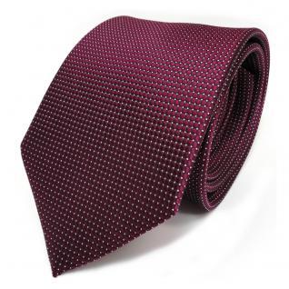 TigerTie Seidenkrawatte rot weinrot bordeaux silber gepunktet - Krawatte Seide