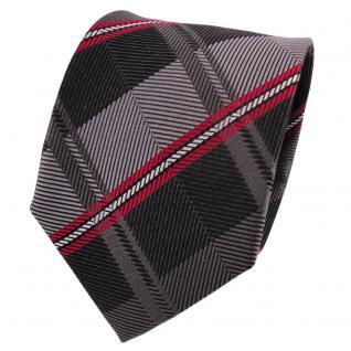 TigerTie Designer Seidenkrawatte anthrazit grau rot gestreift - Krawatte Seide