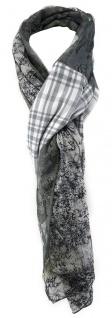 TigerTie Schal in anthrazit grau weissgrau schwarz gemustert - 190 x 60 cm