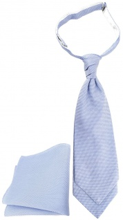 TigerTie Plastron Pique 2tlg Krawatte + Einstecktuch in hellblau-weiss gemustert